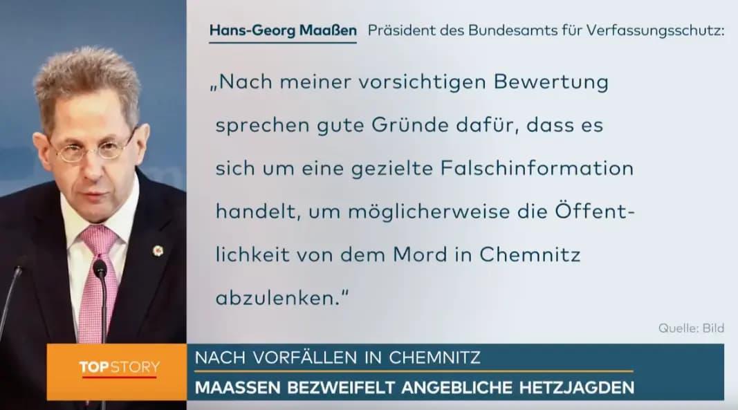 """Hoofd Duitse binnenlandse veiligheidsdienst Hans-Georg Maaßen: """"Goed mogelijk dat beelden Chemnitz zijn vervalst om de aandacht af te leiden van de moord op een 35-jarige Duitser"""""""